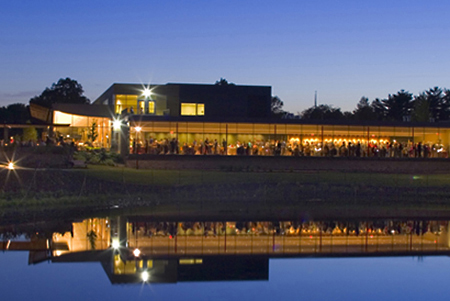 The Ginkgo Room at The Morton Arboretum boasts a wall of floor-to-ceiling windows overlooking pristine Meadow Lake.